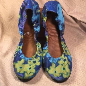 Lucky brand leather/flowery fabric ballet flats